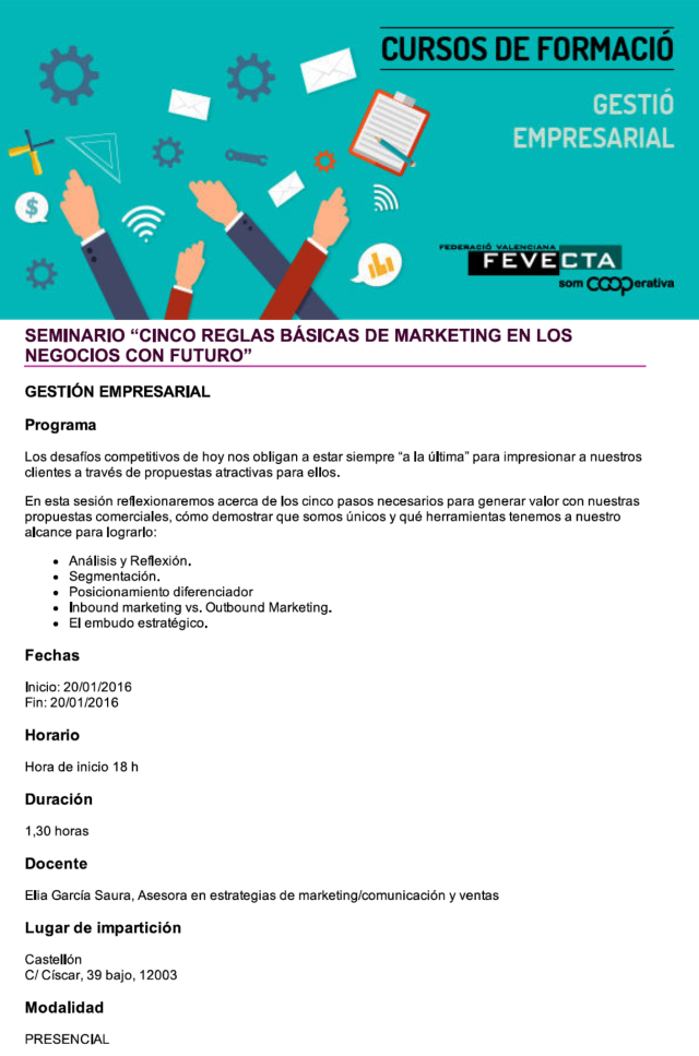 Sesión flash sobre marketing